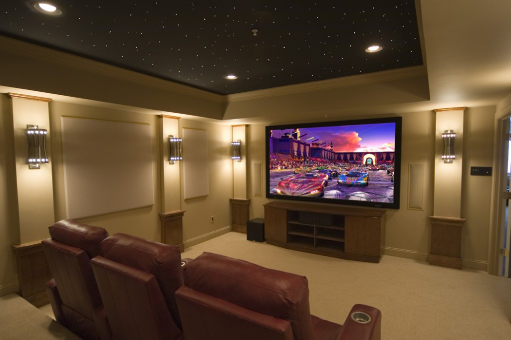 Home Theatre Design Ideas decorations amazing sofa large screen with red carpet lovable home theatre design ideas luxury style design Acoustical Guide To Home Theater Design